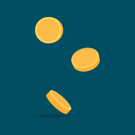 Money falls. Flying gold coins. Jackpot concept. financial vector illustration