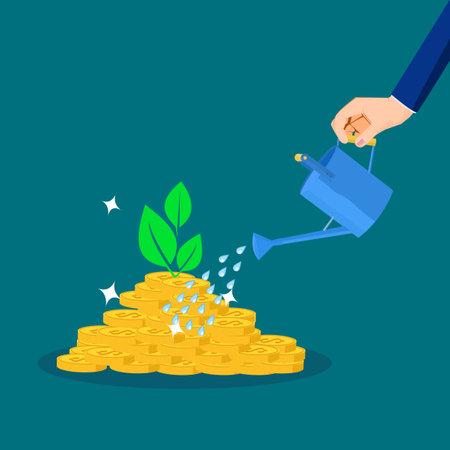 Businessman waters piles of money and trees grow. profit growth concept. financial concept Illusztráció