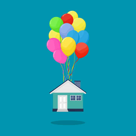 House with multicolored balloons. real estate concept. business vector