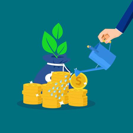 Businessman waters money bags and plants grow. profit growth concept. financial vector Illusztráció