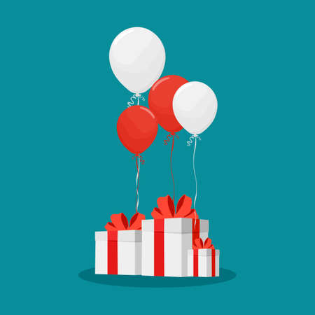 Balloons and white gift boxes. birthday and new year party banner. party concept