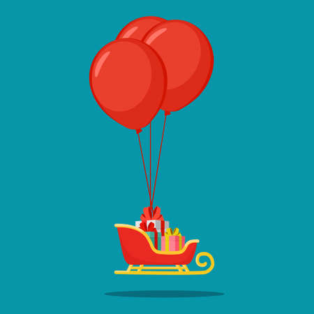 A sleigh filled with gifts and balloons. New Year and Christmas. happy vector Illusztráció