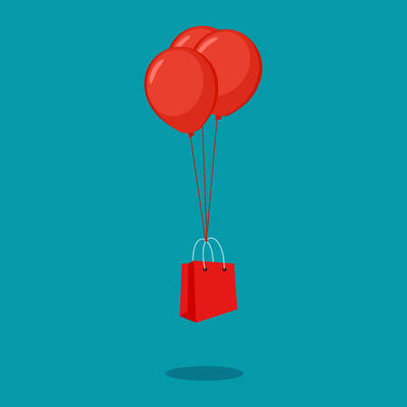 Shopping bags float with balloons. shopping concept. sale vector illustration
