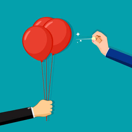 A businessman stabs an opponent balloon with a needle. business competition concept. business vector