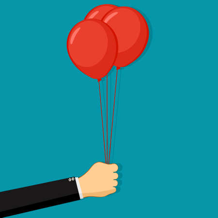 Businessman holding red balloons. Business concept. vector illustration Illusztráció