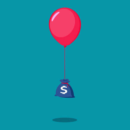 Money bag with balloons. Profit concept. Finance and business. financial vector
