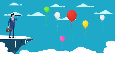 A businessman uses binoculars to look for balloons. Profitable Ideas. business vector