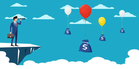 A businessman uses binoculars to look for a bag of money. profit making ideas. business vector Illusztráció
