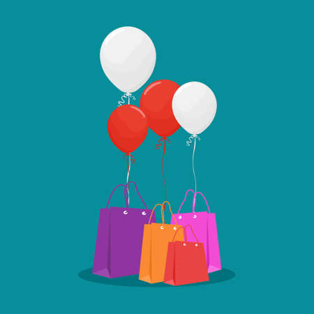 Shopping bags with balloons. Discount shopping concept. sale vector illustration Illusztráció