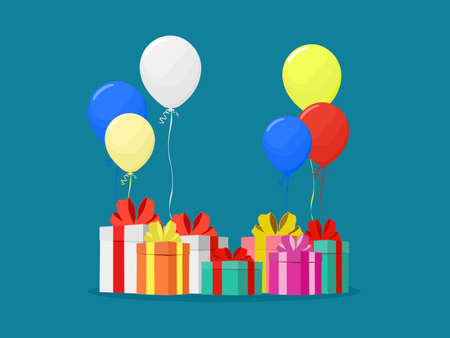Colorful balloons and gift boxes. birthday party banner. happy concept