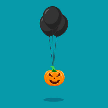 Halloween pumpkins with black balloons. Halloween festival concept. vector illustration Illusztráció