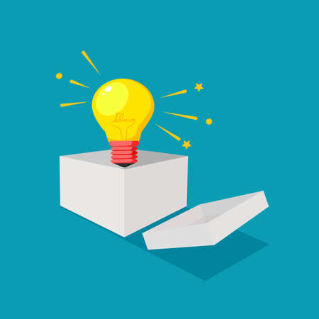 A light bulb in a box and thinking outside the box. different business ideas. business concept