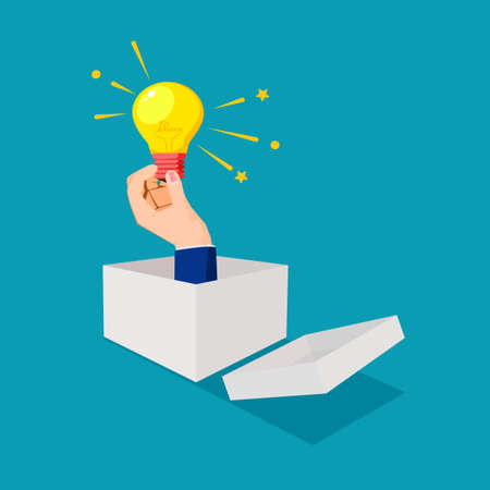 hand holding light bulb coming out from a paper box. Businessman thinking outside the box. business vector