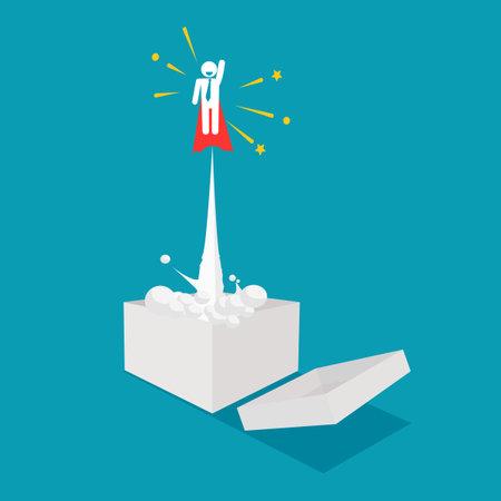 Think outside the box. Businessmen fly out of the box. unique creativity. business concept Illusztráció