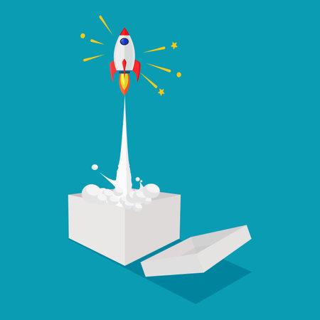 Think outside the box. Rocket fly out of the box. unique creativity. business concept Illusztráció