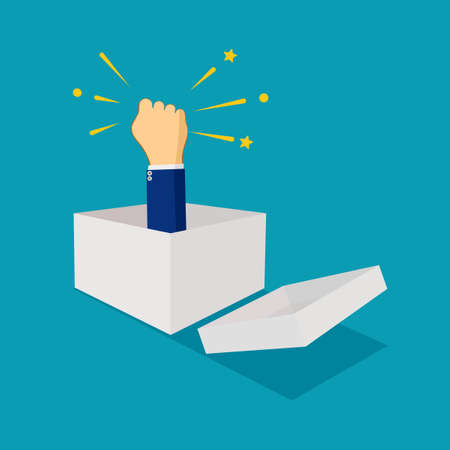 A businessman raises his hand from a box. think outside the box. business concept Illusztráció
