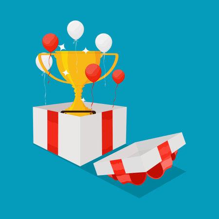 Trophy in gift box with red ribbon. Special bonus reward idea. bonus vector Illusztráció