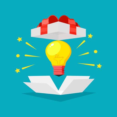 Idea light bulbs and gift boxes. achievement award concept. business vector