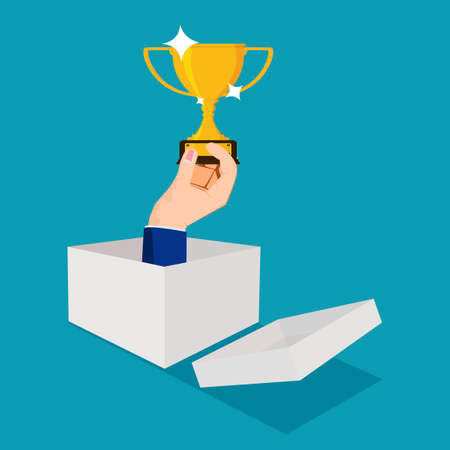 Businessmen think outside the box and win trophies. creative victory. business concept