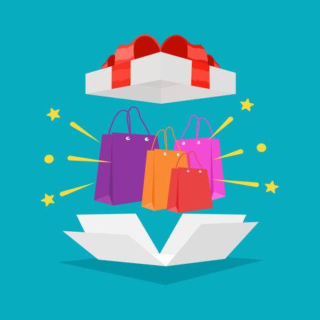 Shopping bag in gift box with red ribbon. Special Bonus Reward Ideas. bonus vector