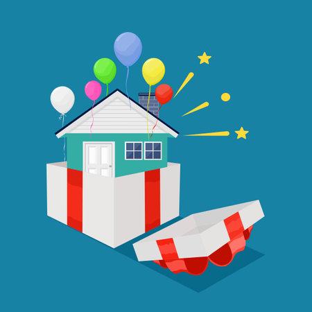 House in gift box with red ribbon. Special bonus reward concept. business vector Illusztráció