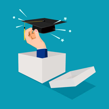 Businessman thinking outside the box and holding a graduation cap. different learning concepts. vector illustration Illusztráció