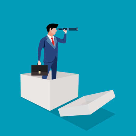 Think outside the box. A businessman uses a telescope. business ideas and creativity. business vector