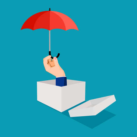 Businessman thinking outside the box and holding an umbrella. business protection vector
