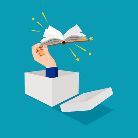 Businessman thinking outside the box and holding a book. different learning concepts. learning vector