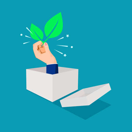 Businessman thinking outside the box and holding a leaf. environmental thinking. nature vector