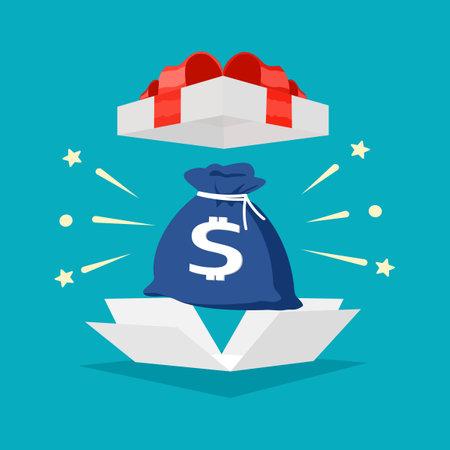 money bag in gift box with red ribbon. Special Bonus Reward Ideas. bonus vector