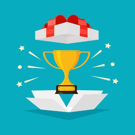 Trophy in gift box with red ribbon . Special bonus reward idea. bonus vector