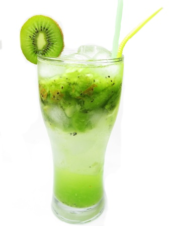 glass of fruit cocktail smoothie with kiwi and ice photo