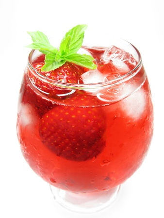 fruit of the spirit: alcoholic cocktail punch cocktail with ice and strawberry