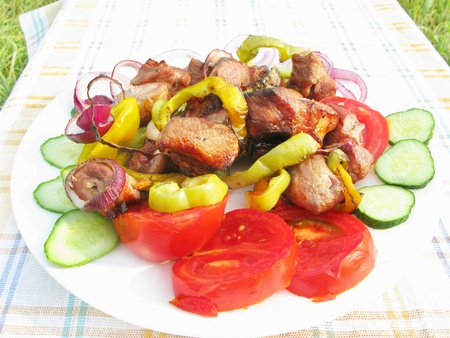 cooked meat: grilled cooked meat with pepper onion roasting on plate