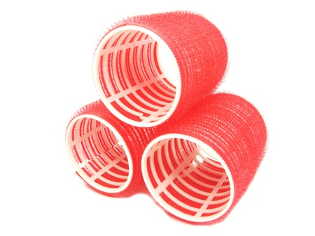 collection of red hair rollers large diameter