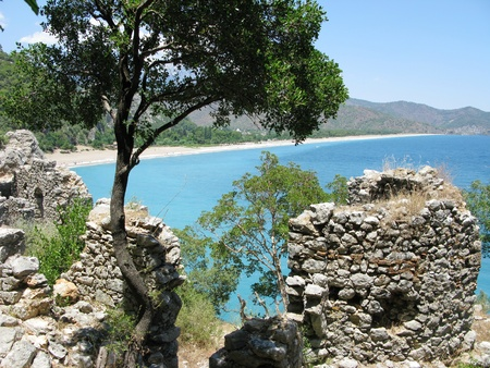 panoramic view of olympos out of ancient castle turkey Stock Photo