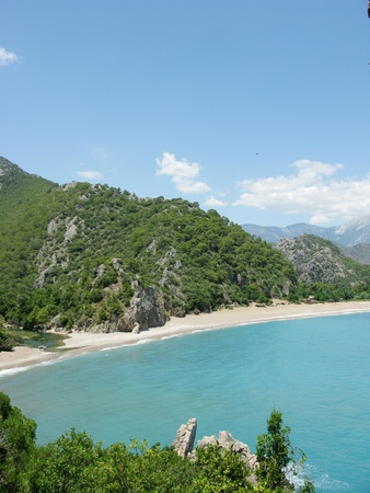 mediterranean sea landscape view of beach and mountains olympos panorama Stock Photo