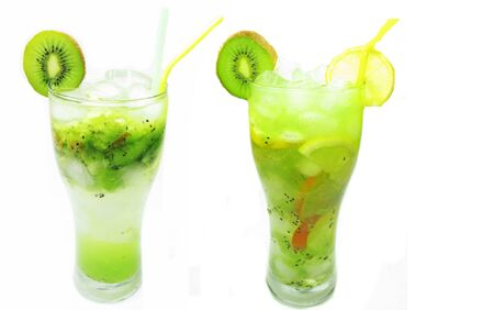 green kiwi fruit juice drink with ice and mint photo