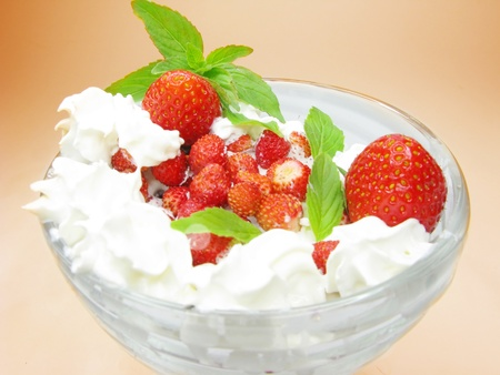 strawberry dessert with dairy pudding and jelly photo