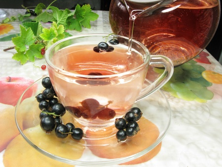 fruit summer tea with black currant berries photo