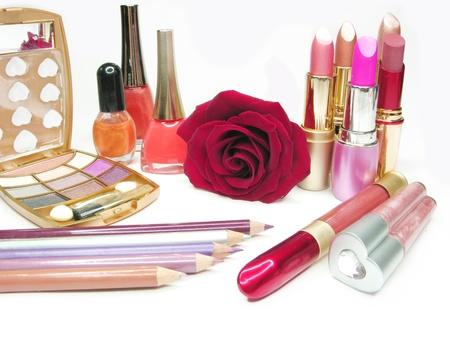 lipsticks rose eye shadows pencils nail polishers lip gloss photo