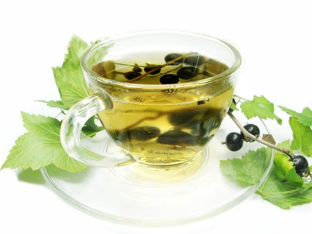 fruit tea with black currant extract and berries photo