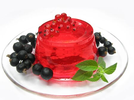 fruit jelly marmalade dessert with red currant