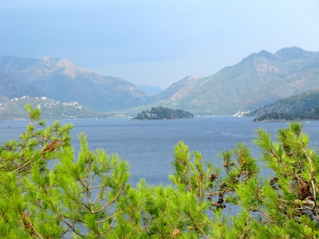 woody bay: panoramoc view of island in aegean sea turkey