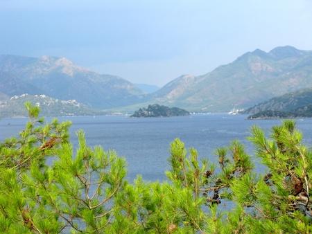 woody bay: panoramoc view of island in aegean sea turkey