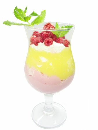fruit cocktail with raspberry and strawberry decorated by mint photo