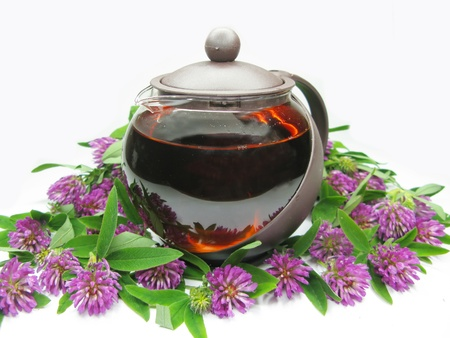 teapot with floral clover tea photo