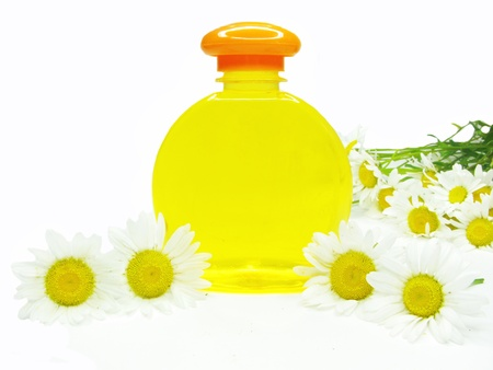 bottle of herbal shampoo yellow with daisy flowers essences photo