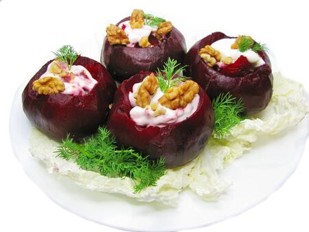stuffed beetroot with nuts and vegetables Stock Photo - 11169465